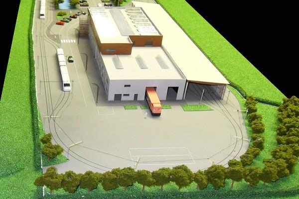 modello plastico architettonico deposito e magazzino