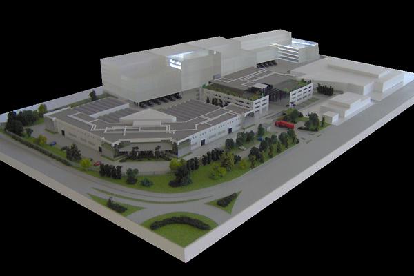 modello plastico architettonico stabilimento industriale e commerciale