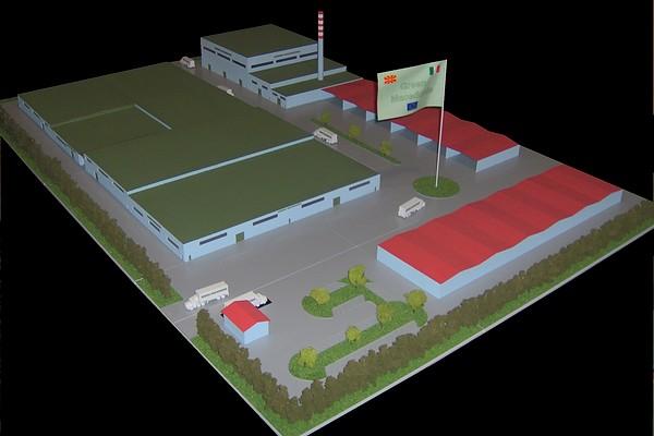 modello plastico architettonico stabilimento industriale