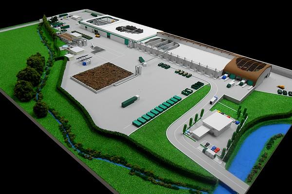 modello plastico architettonico stabilimento trattamento rifiuti