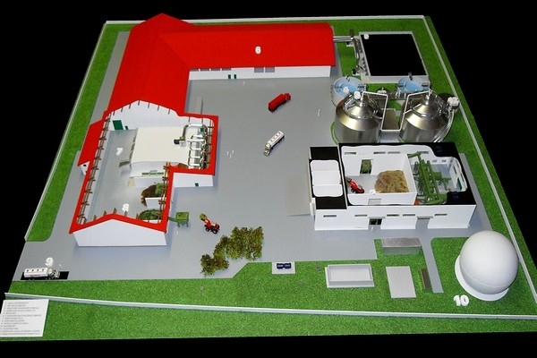 modello plastico architettonico stabilimento trattamento biomasse
