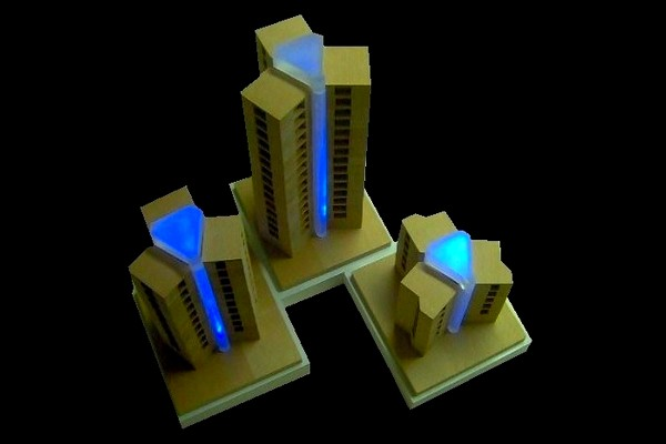 modello plastico in legno con illuminazione a led
