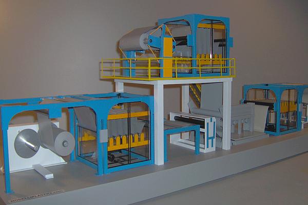 modello plastico impianto linea industriale accoppiamento
