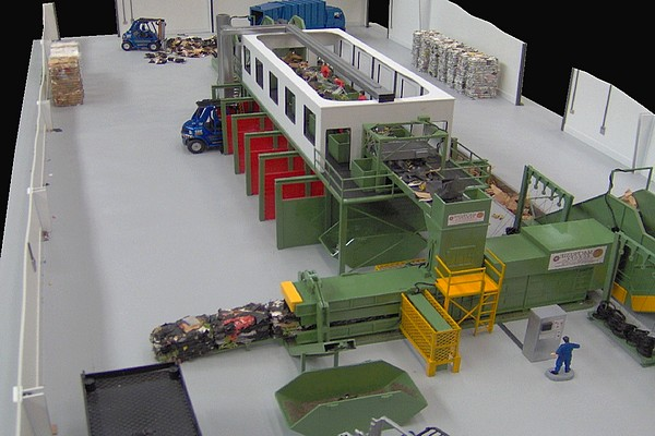 modello plastico impianto trattamento rifiuti