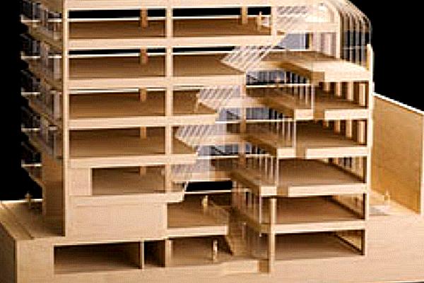 modello plastico sezione edificio commerciale