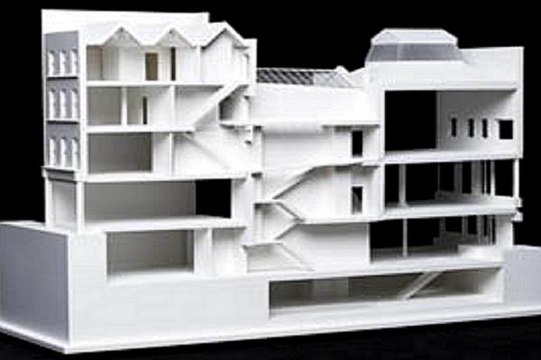 modello plastico sezione edificio residenziale