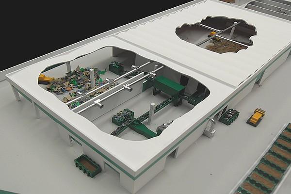 modello plastico sezione stabilimento smaltimento rifiuti