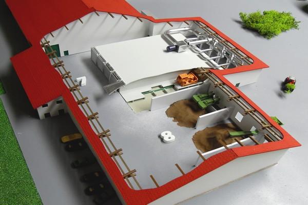 modello plastico sezione stabilimento trattamento biomasse
