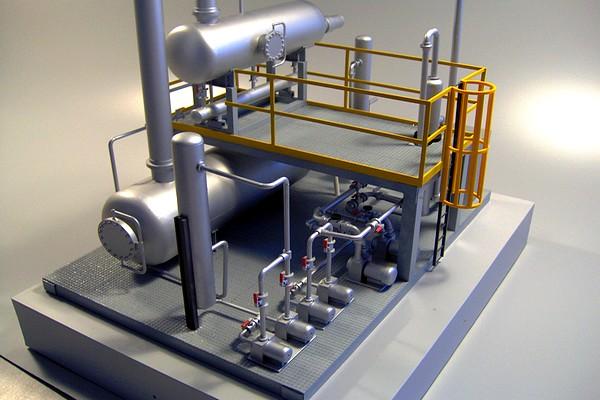 modello plastico tubazioni e valvole