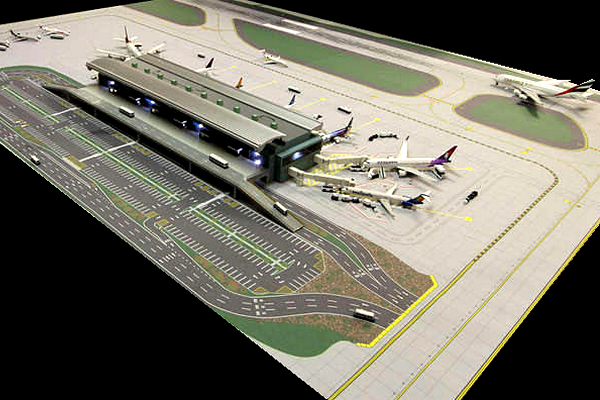 modello plastico scalo aeroportuale