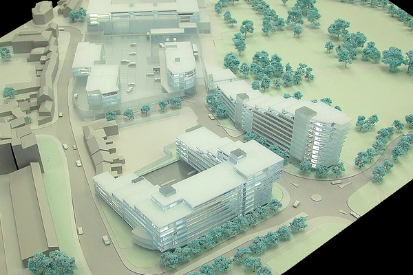 modello plastico architettonico monocromatico e plexiglass